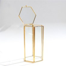 Pure Copper Gold European Six-sided Clamshell Geometric Glass Flower Room Ins Makeup Brush Dressing Table Storage Box