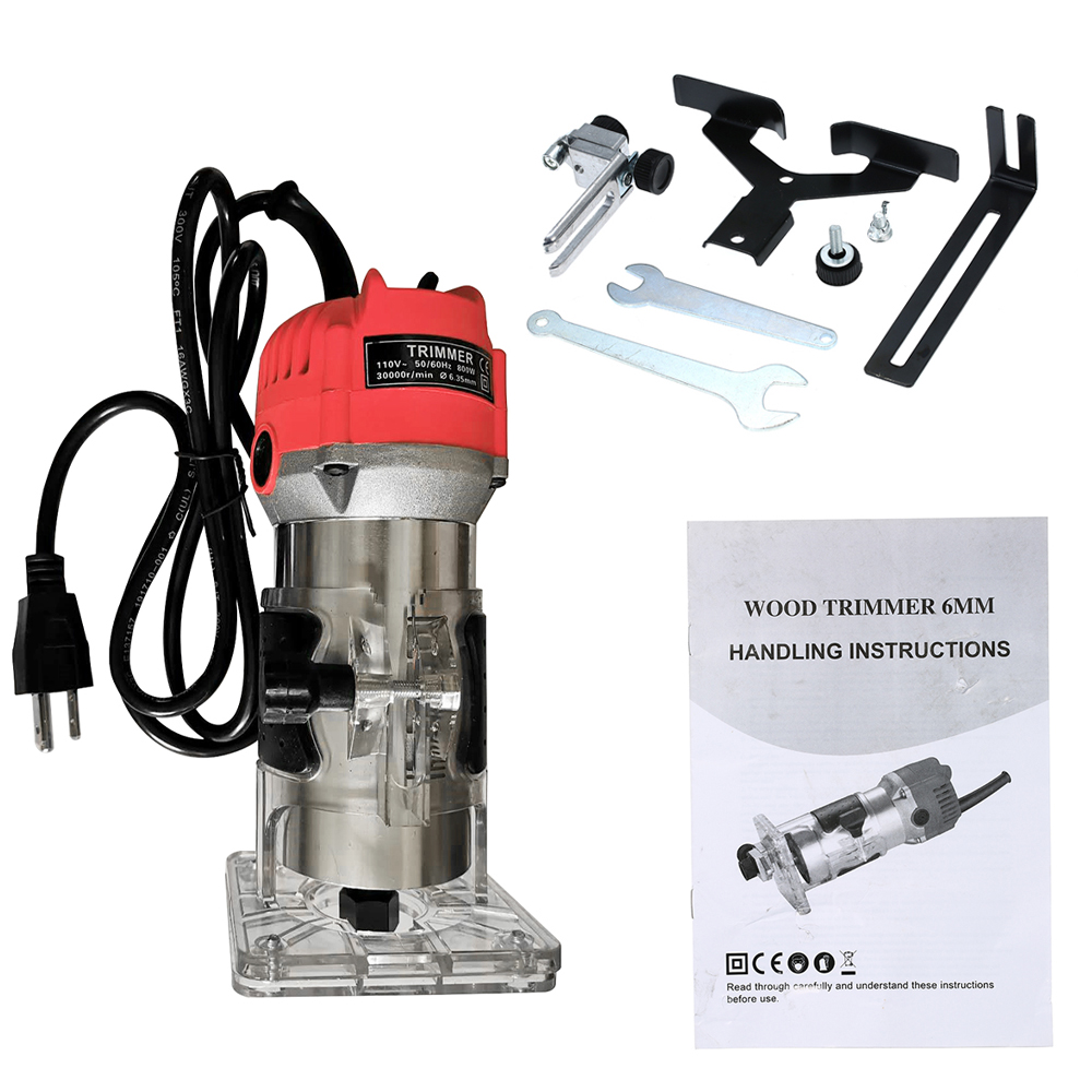 220V 110V Woodworking Electric Trimmer 30000rpm Wood Milling Engraving Slotting Trimming Machine Wood Router Slotting Trimming