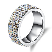 5 Rows Fashion High Quality Crystal Stainless Steel Rings Of Wedding Rings And Engagement Rings Jewelry