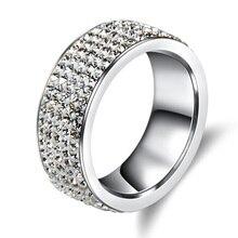 5 Rows Crystal Stainless Steel Ring Women for Elegant Full Finger Love Wedding Rings Jewelry