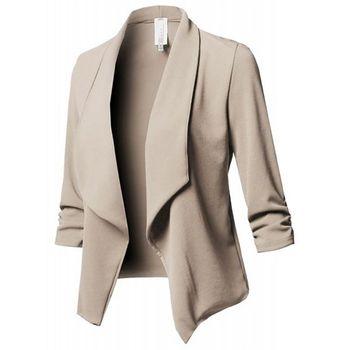 طويلة الأكمام الأعمال السترة معطف العمل مكتب ضئيلة والحلل الخريف سترة الإناث سيدة أيا زر الصلبة التلبيب مطوي
