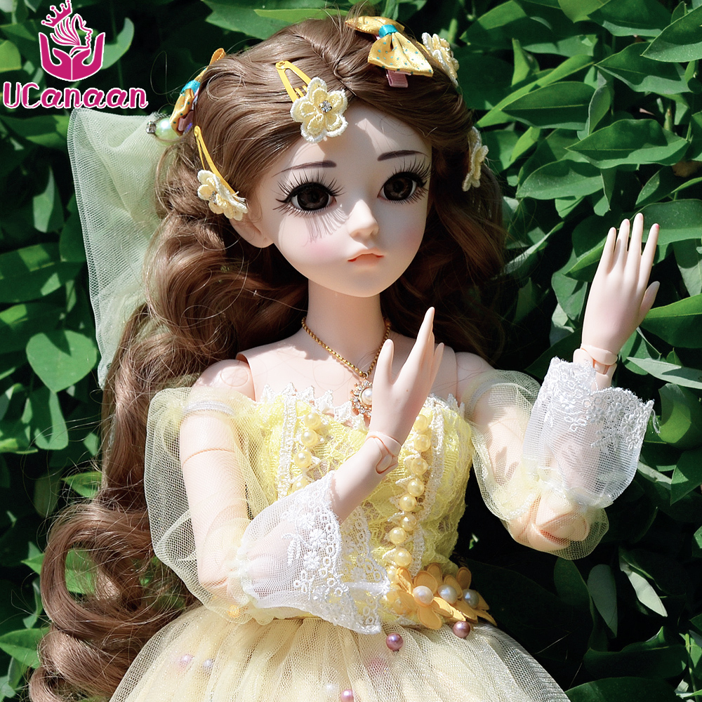 UCanaan 24 inch Full Outfits Makeup BJD Dolls 1/3 60cm SD Doll 18 Ball Jointed DIY Dressup Girls Toys For Collection ucanaan 1 3 bjd dolls beauty sd doll 19 ball jointed with full outfits makeup dressup dolls children toys for girls