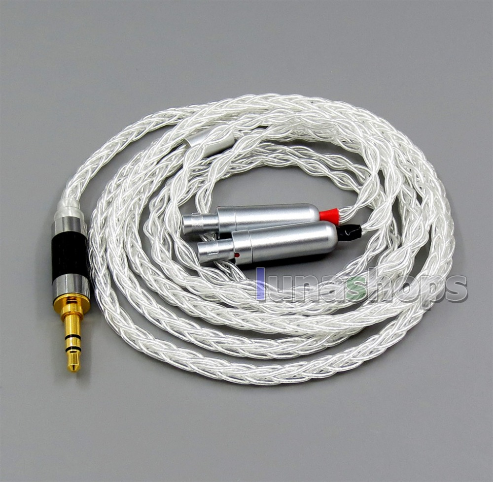 купить 8 core 2.5mm 3.5mm 4.4mm Balanced Pure Silver Plated OCC Earphone Cable For Sennheiser HD800 HD800s