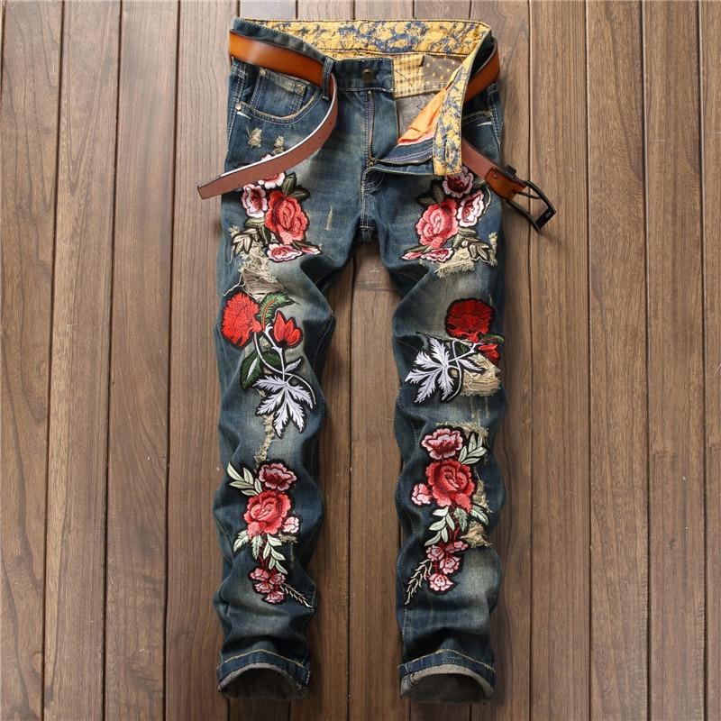 2018 Neue Designer Männer Jeans Berühmte Marke Italienischen Luxus Rose Bestickte Jeans Slim Fit Herren Gedruckt Jeans Biker Jeans Guter Geschmack