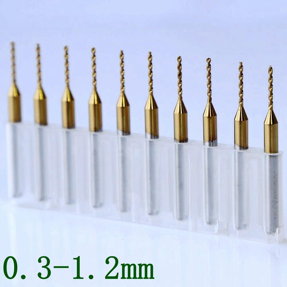 10 шт. титановое покрытие PCB бит 0,3-1,2 мм твердосплавное сверло печатная плата инструменты CNC, фрезерные инструменты, ручное сверло для pcb
