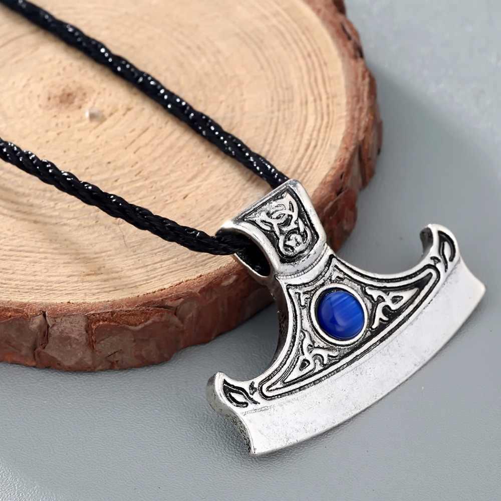 CHENGXUN גברים גרזן שרשרת ויקינג כחול קריסטל גותי רטרו פגאני תליון גדול צווארון שחור חבל שרשרת הנורדית בעבודת יד תכשיטים