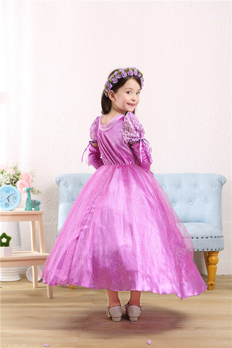 Fashion Cute Cartoon 5 To 13 Years Birthday Girl Party Dresses 3 Pcs