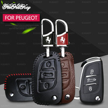 Leather 3 Buttons Remote Flid Folding Key Cover Case Fob For PEUGEOT 207 307 308 For Citroen C2 C3 C4 C5 C6 C8 Car Accessories new silicone case bag cover 2 buttons for peugeot 206 207 307 308 407 408 citroen c2 c3 c4 c4l c5 c6 quatre key fob car styling