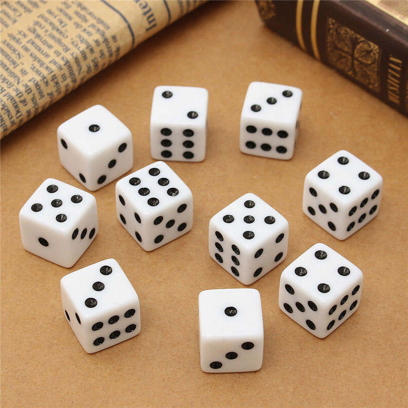 10pcs/set 16mm Standard Six Sided Acrylic Gaming Dices For Craps Family Party For Birthday Parties 3Color