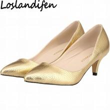 LOSLANDIFEN Brand 2018 Women Pumps Low Heels Print Texture PU Leather  Shallow Mouth Wedding Bridal Shoes OL Ladies Shoes 35-42 f0e655da7014