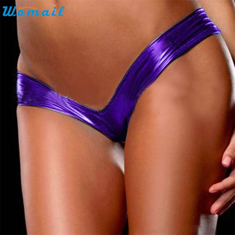 WOMAIL delicate drop ship women Sexy Panties Ladies Night Games Glossy Leather lingerie Shorts Underwear W30