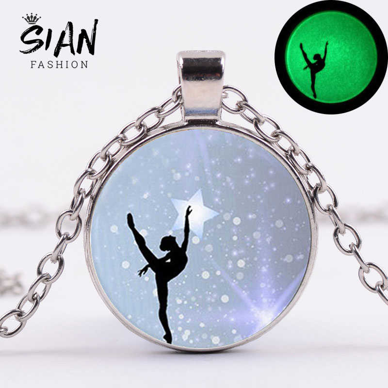 SIAN Fashion Luminous Ballet Dancer Necklace Glowing In The Dark Dancing Girl Fairy 3D Printing Glass Cabochon Pendant Necklace