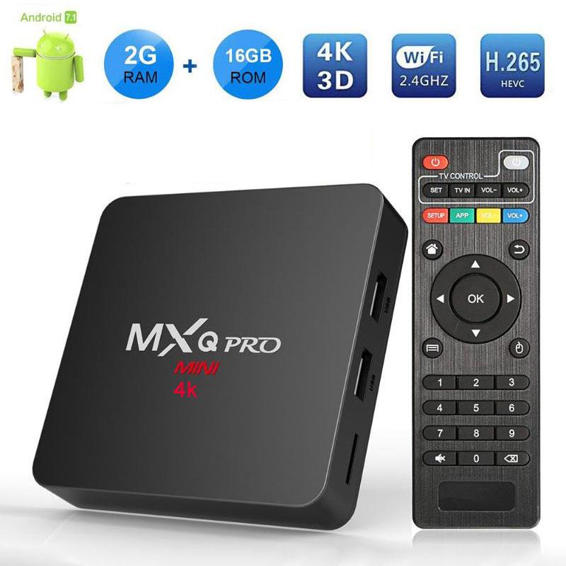 MXQ PRO Smart Android 7.1 TV BOX 2GB 16GB RK3229 Quad Core Suppot H.265 UHD 4K 2.4GHz WiFi Media Player PK X96 mini Set-top Box