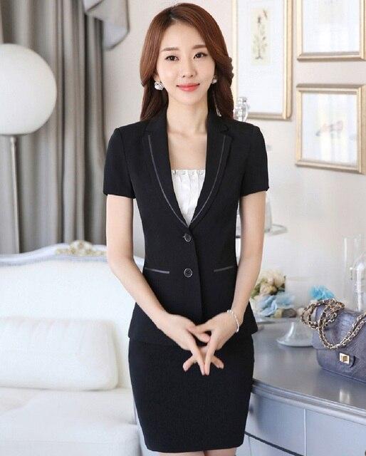 4b05b1497 Más tamaño 2016 Primavera Verano profesional negocios trajes de trabajo  chaquetas y falda uniforme estilo moda Blazers conjuntos en Trajes de falda  ...