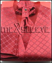 wholesale free shipping Men's Suit Tuxedo Dress red check pattern Vest 4pcs