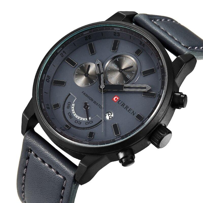 CURREN orologio per gli uomini di marca del quarzo-orologio da Uomo Manopola Rotonda Vigilanza Analogica con Visualizzazione della Data 8217
