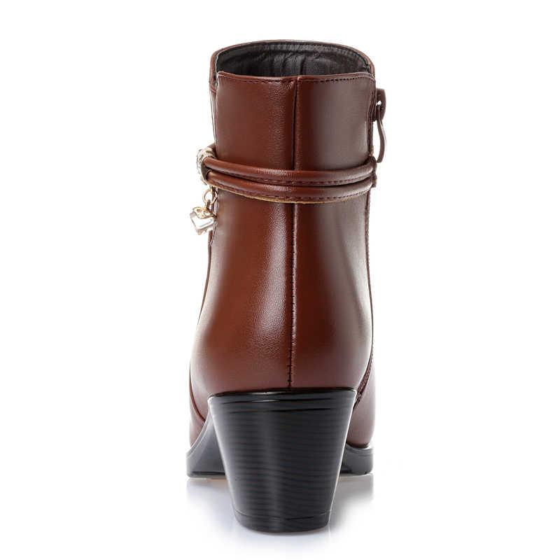 GKTINOO 2020 חדש אופנה רך עור נשים קרסול מגפי עקבים גבוהים רוכסן נעלי פרווה חמה חורף מגפי נשים בתוספת גודל 35-43