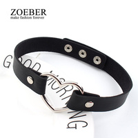 Charm female chokerTrendy Stainless Steel Heart Chokers Necklaces Colorful Leather Buckle Belt Jewelry for Women Men maxi colar