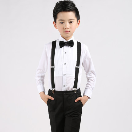(Straps+shirt+bow tie+pants)Boy Clothes Suit Kid 4 Pcs Black Bib overall Children Spring &Autumn Formal Clothing Set For Wedding spring autumn fashion children clothes full sleeve t shirt and pants 2pcs handsome gentleman suit boy clothing set kid tracksuit