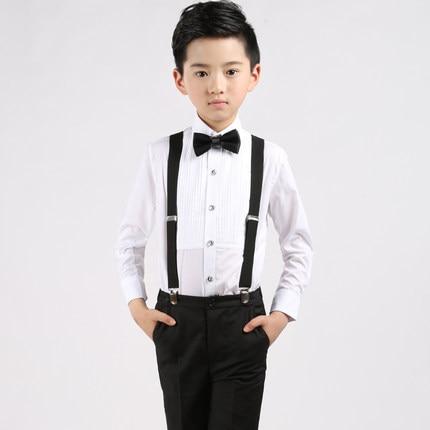 Straps Shirt Bow Tie Pants Boy Clothes Suit Kid 4 Pcs