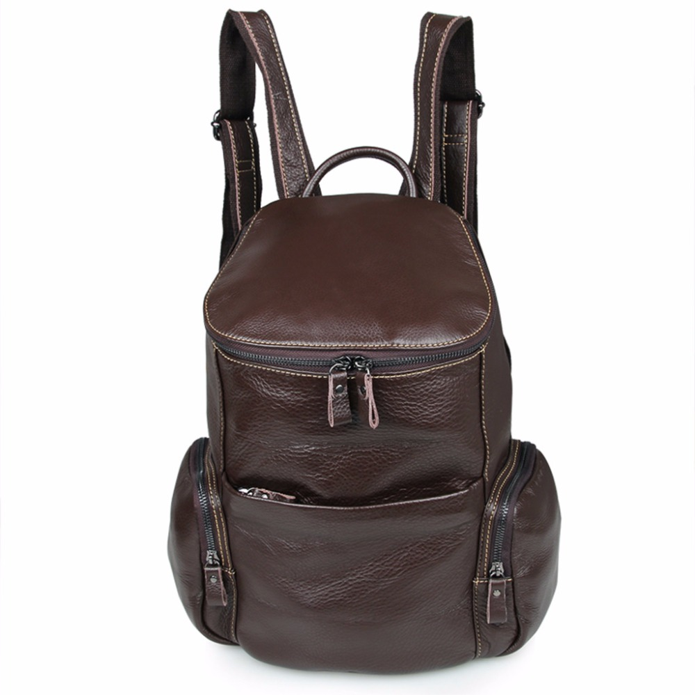 Augus Genuine Leather Fashion Unique Design Brown Men Unisex Backpack School Rucksack for Young People Women Travel Bag 7336C new black leather fashion korean women backpack male school bag young people travel bag