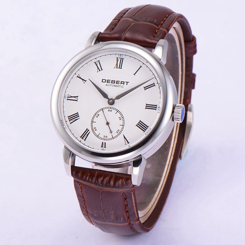 Debert 40mm Mens Automatic Watch White Dial Roman Marks Watches Seagull Movement Brown Leather Strap Clock DT7031BRNDebert 40mm Mens Automatic Watch White Dial Roman Marks Watches Seagull Movement Brown Leather Strap Clock DT7031BRN
