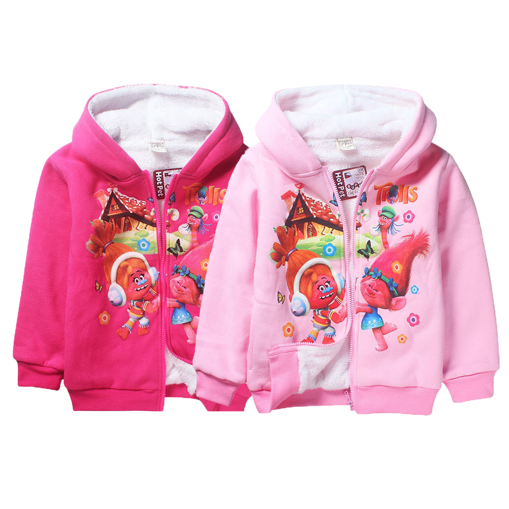 Heavyweight Girls Jacket Trolls Winter Hooded Keeping Warm Coat For Girls Christmas Costume Kids Clothes Children Clothing