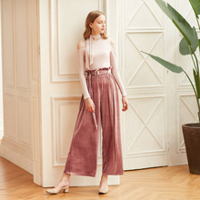 Vintage Velvet High Waist Trousers For Women Pant Loose Big Size With Sashes Autumn Wide Leg Female Pants Fashion