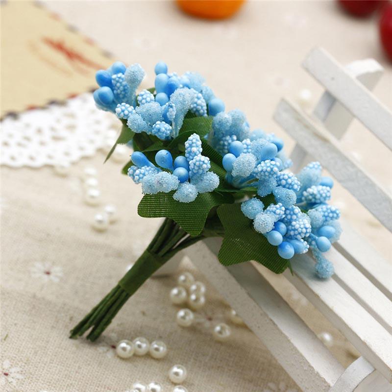 12pcs lot Pompon Mini PE Foam Multicolor beads Artificial Silk Flowers bouquet For Wreaths DIY Wedding Scrapbooking Fake Flower in Artificial Dried Flowers from Home Garden