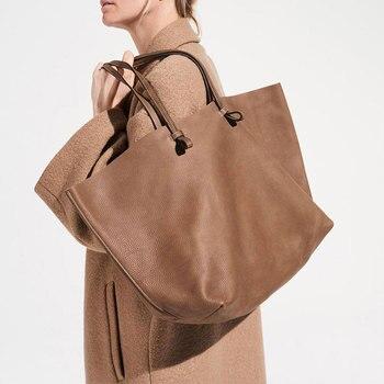 2019 Fashion Leather Handbags Fashion Casual Shoulder Leather Shopping Bag Portable Leather Bag Simple Practical Ladies Big Bag