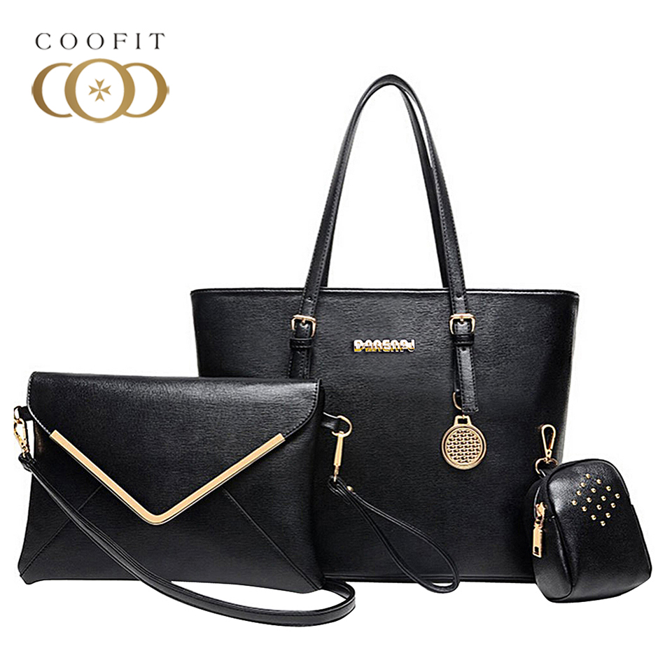 Coofit Women Composite Bag 3 Pcs/Set Upscale Office Lady Shoulder Bags Female Business Messenger Bag With Rivet Purse Coin Purse 3 pcs set vintage handbags women messenger bags female purse solid shoulder bags office lady casual tote new top handle bag