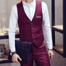 Leisure men's suit vest wine red wedding formal occasions waistcoat high quality customized business the groom's best man suit