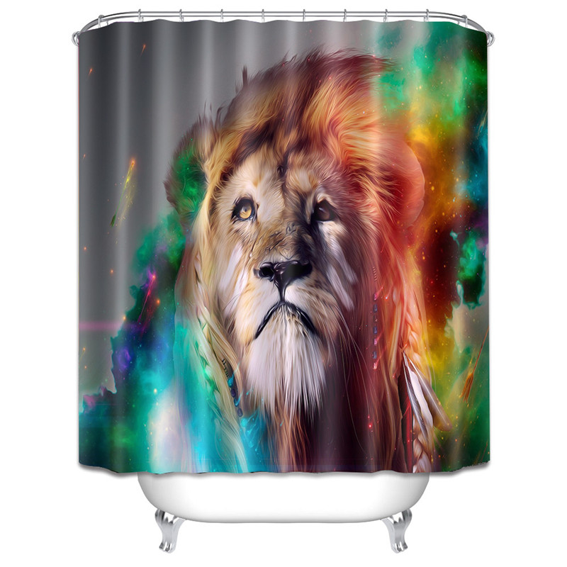 Colorful Galaxy Gold Lion Meteor Shower Curtain Eco-friendly Polyester High Quality Washable Bath Decor Bathroom Curtains