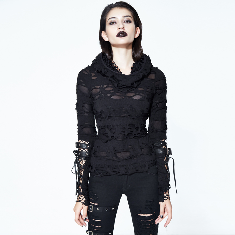 Steam Punk Women s Ripped T Shirt Gothic Long Sleeve Holes T shirts Costumes Double Layers