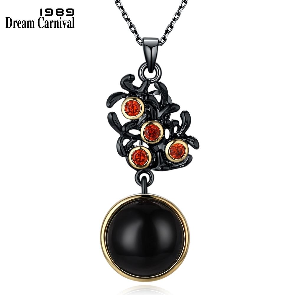 DreamCarnival 1989 Vintage Flower Black Color Chains Co Look Fashion Unique Red Cubic Zircon Pendant Necklace for Women WP6512
