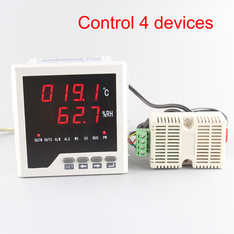 Big size 96 96mm can connect 4 device intelligent temperature and humidity controller for greenhouse with