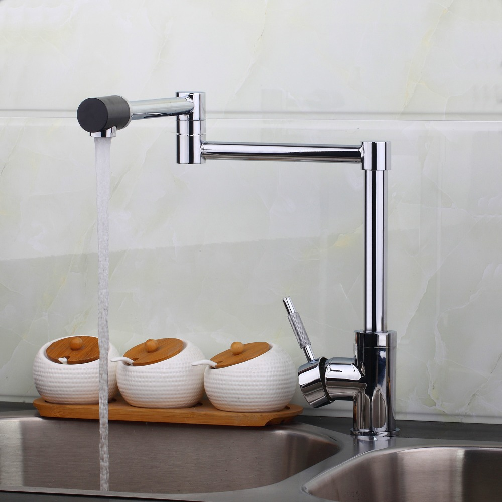 Spray Hot Cold Water Deck Mount Swivel Spout Chrome Brass Kitchen Sink Water Tap Faucet hejia139