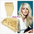 Stella Reina 7A Una Pieza Clip de La Cabeza Llena Brasileña 100% Remy Extensión Del Pelo Humano Puro Beach Blonde #613 Sedoso Pelo Liso