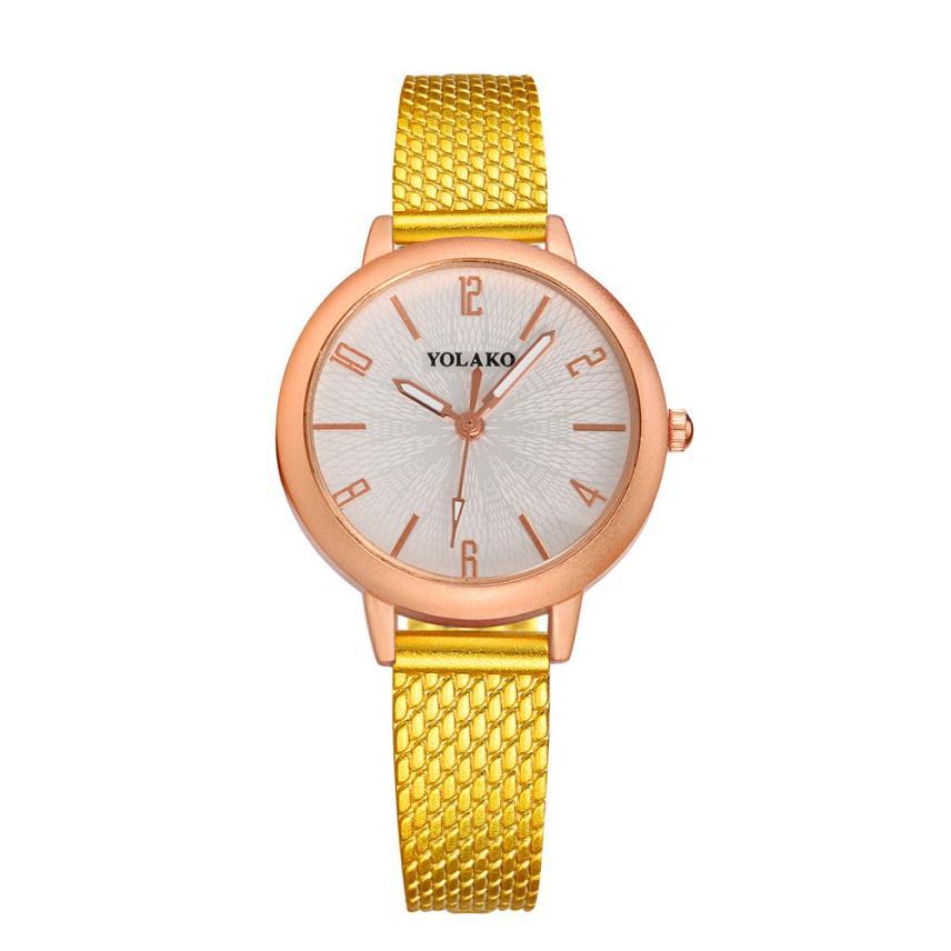 New Fashion Wanita berlian imitasi jam tangan Kristal Mewah Yang cetak Emas  Perhiasan Wanita Ladies Fashion a716ba49de