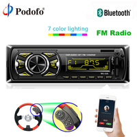 Podofo Bluetooth Autoradio Car Stereo Radio Double USB FM Radio Aux Input Receiver SD In dash 1 din Audio MP3 Multimedia Player