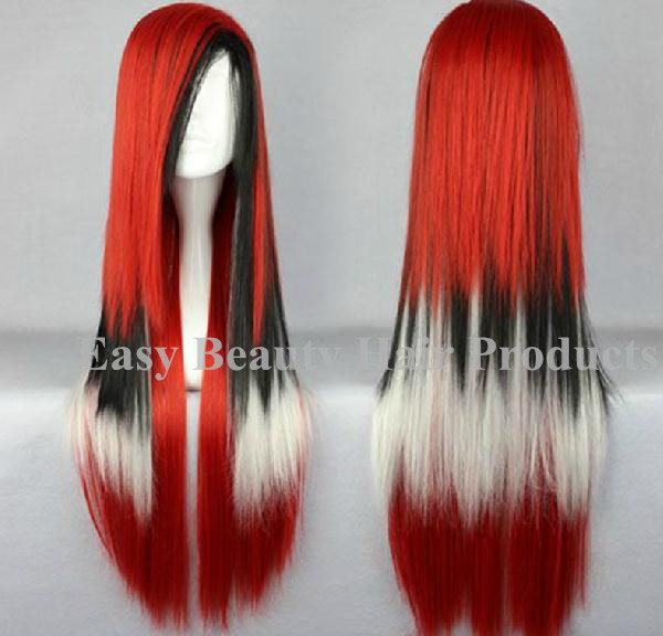 Cheap Dark Roots Rainbow Wig Cosplay Ombre White Red Silver Gray