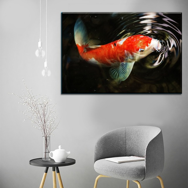 Canvas Paintings Wall Art Framework 1 Pieces Animal Fish Koi Carp