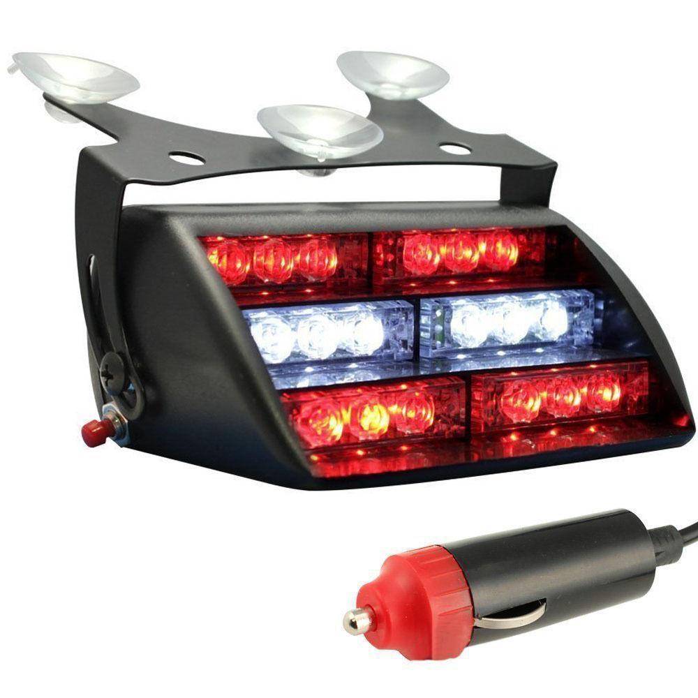 XYIVYG 18LED 18 LED Pompier Véhicule D'urgence Dash Avertissement Lumière Stroboscopique Flash Rouge et Blanc Clignotant Lampe