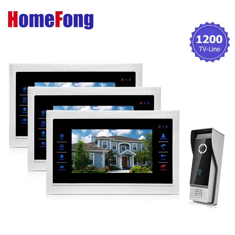 Homefong Door Phone Monitor Video Doorbell Camera Intercom 3V1 Home Security 3 Indoor LCD Screen Display 1 1200TVL view цена