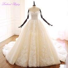 Кружевное свадебное платье трапеция с вырезом лодочкой, без рукавов