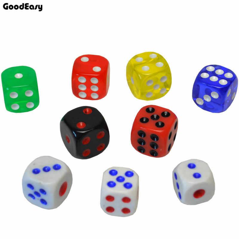 16 мм зеленые акриловые казино цифровые многогранные кости набор шестигранники Spot Fun кубик для настольной игры D & D RPG игры вечерние азартная игра кубики