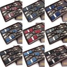 Moda masculina suspensórios de couro 6 clipes cintas vintage casual estilo ocidental calças dos homens ajustável suspensórios cinta bretele presente