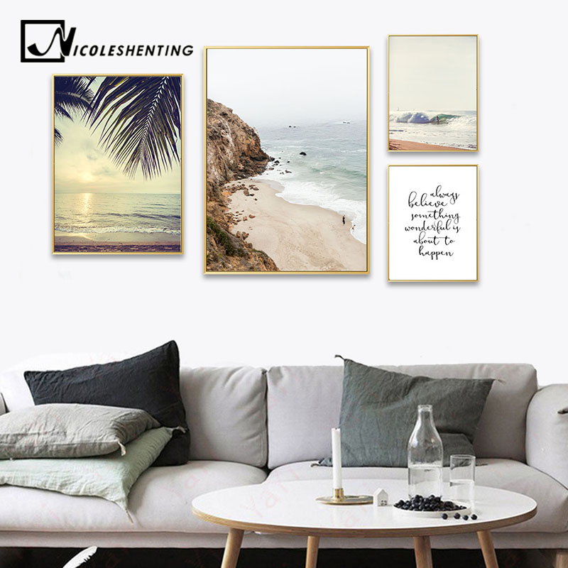 Sunset Beach Canvas Poster Nordic Decoration Sea Landscape Wall Art Print Painting Decorative Picture Scandinavian Home Decor
