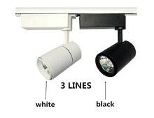 цена на COB LED Track Light Spot Light Ceiling Mounted Rail 3 lines Track Lamp Decorative Led spotlight Track 20W/30W black/white