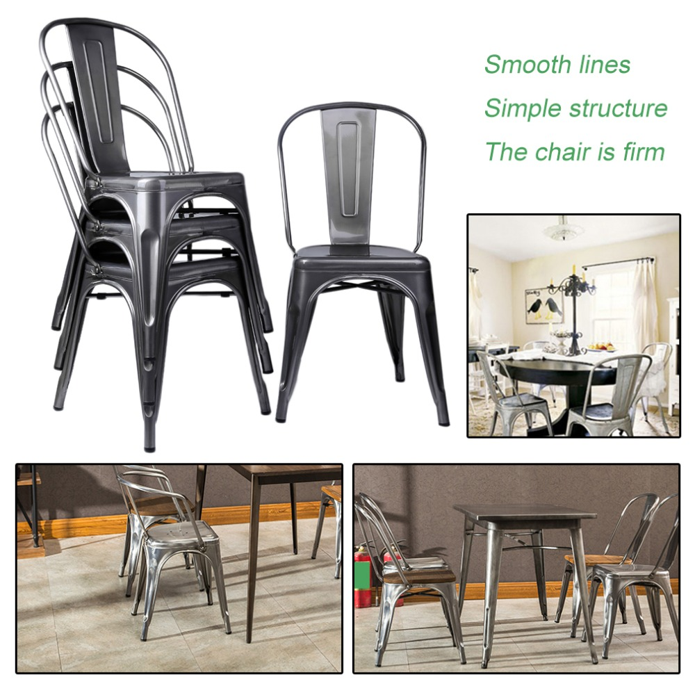 4pcs/set Classic Metal Industrial Dining Lunch Chair Kitchen Cafe Bistro Indoor Wedding Party Comfortable Vintage Seat